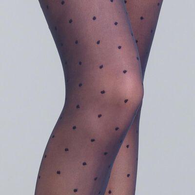 DIM Signature navy blue dotted Swiss tights, , DIM