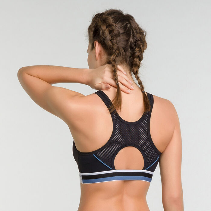 Black minimum support demi-cup sport bra - Dim Sport, , DIM