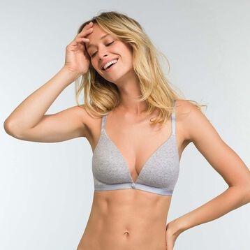 Mottled grey triangle padded Bra Casual Line, , DIM