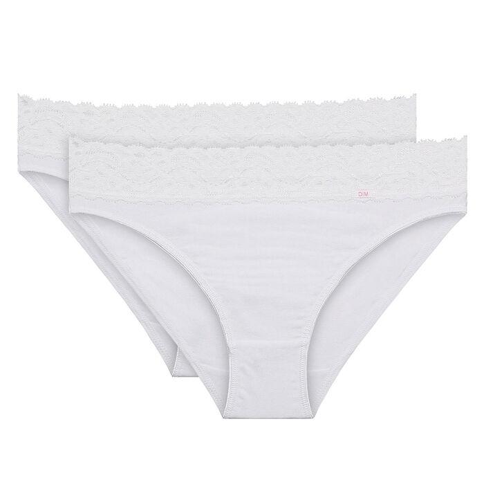 Lot de 2 slips blancs Coton Plus Féminine forme midi, , DIM