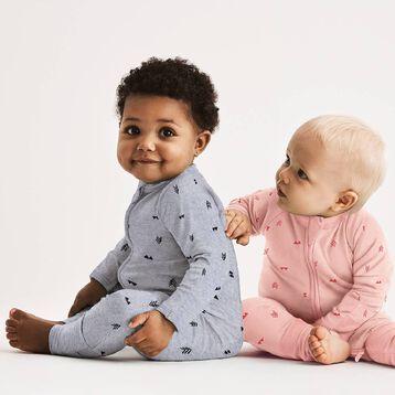 Indian Pink Zipped Pyjama in Terry Cotton Dim Baby, , DIM