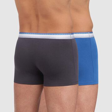 Absolu Fit 2 pack trunks in granite grey and ocean blue with fitted waistband , , DIM