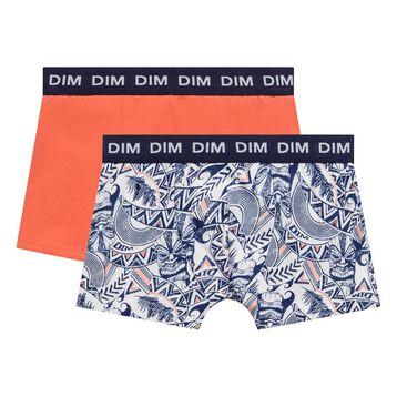 Lot de 2 boxers saumon et bleu imprimé - Box Hawaï, , DIM