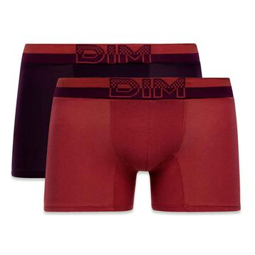 Set of 2 Soft Touch Pop samba red and dark purple boxers - DIM