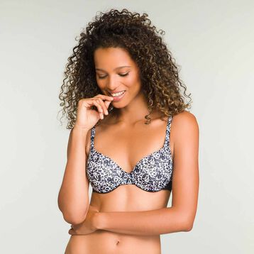 Ceramic print push up balconette bra Invisifit, , DIM