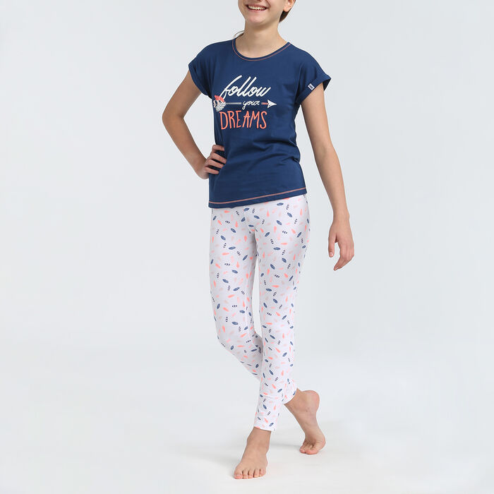2-pieces short sleeves and leggings girl pyjamas with blue feathers pattern, , DIM