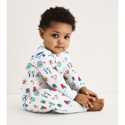 Dim Baby White stretch cotton baby pyjama with zip and garden print, , DIM