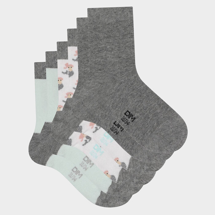 Pack of  3 pairs of children's socks with mermaid motif Mint Cotton Style, , DIM