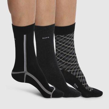 3 pack men's calf socks in Black Tartan Cotton Style, , DIM