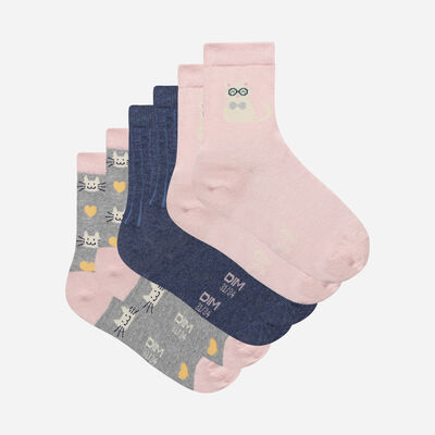 Pack of 3 Pairs of Kids Cat Cotton Style Socks, , DIM