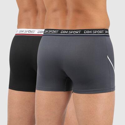 Dim Sport pack of 2 men's antiperspirant microfibre trunks in grey and black, , DIM