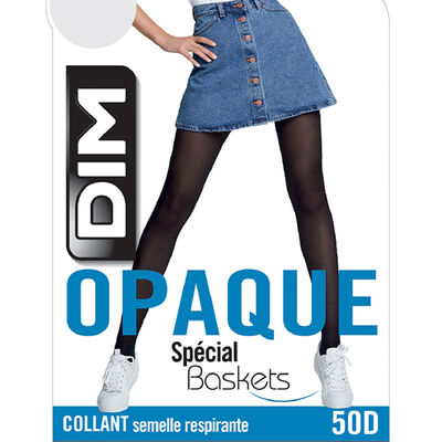 Collant opaque velouté spécial sneakers bleu marine 50D, , DIM