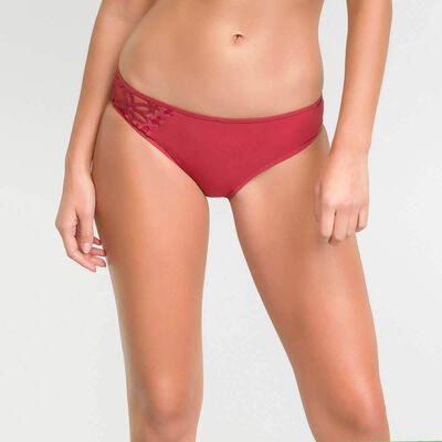 Microfiber brief with red embroidery – Dim Generous MOD, , DIM