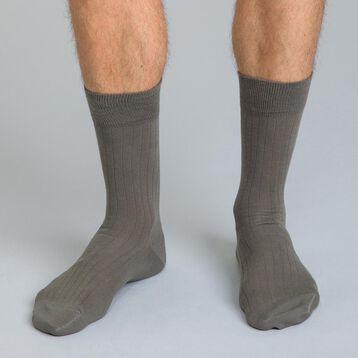 Chaussettes unies kaki en coton Homme-DIM