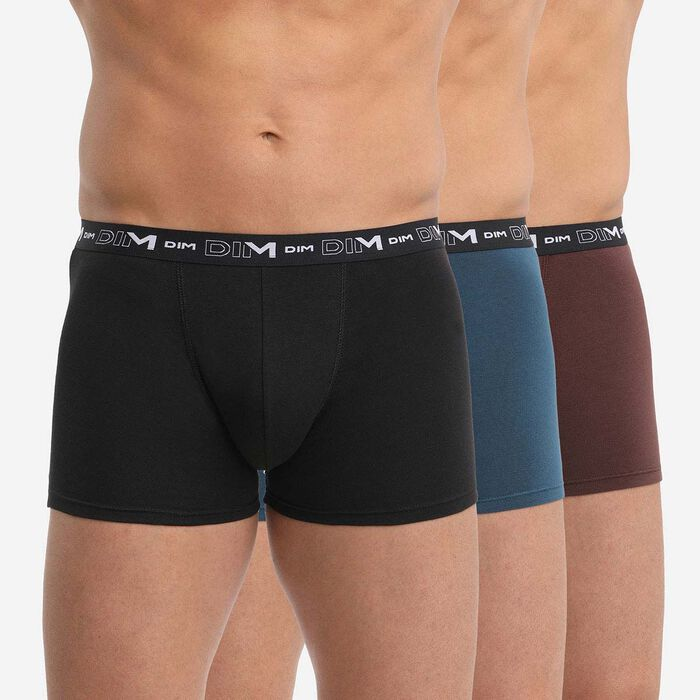 Pack of 3 men's Black Fawn Brown Cotton Stretch boxers with graphics on waistband, , DIM