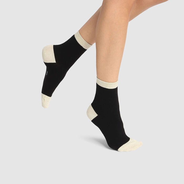 Cotton Style women's black brushed cotton and gold lurex ankle socks, , DIM