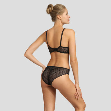 Dim Daily Glam black graphic lace and dotted swiss mesh briefs , , DIM