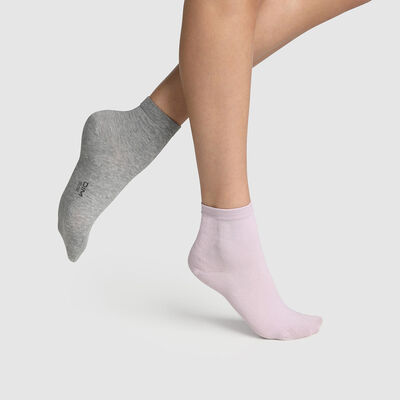 Pack of  2 pairs of women's socks Light Grey Lavender Basic Cotton, , DIM