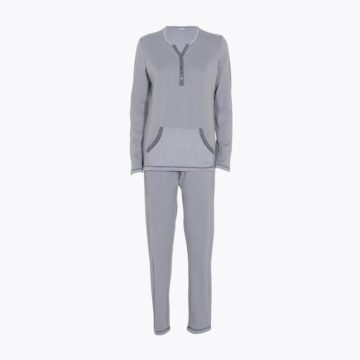 Women's pyjama set Grey fleece effect, , DIM