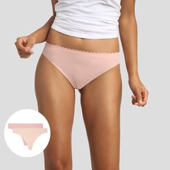 2 pack thongs creamy beige and porcelain pink Body Touch Microfiber, , DIM
