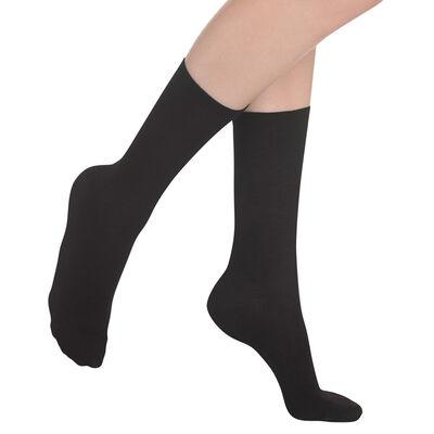 Chaussettes unies noires en laine douce Femme-DIM