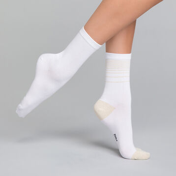 2 pack white socks with lurex - Dim Coton Style, , DIM
