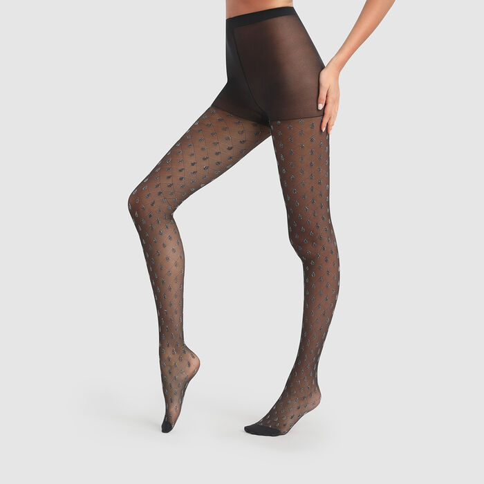 Dim Style 20D black lurex fancy tights with sparkly drops print, , DIM