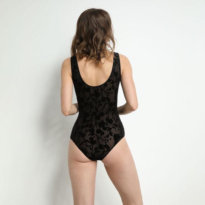 Body femme en microfibre à motif floral velours Noir A Fleurs de Peau, , DIM
