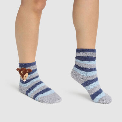 Non-slip Cocoon 3D Fawn Head Grey Blue Kids Socks, , DIM