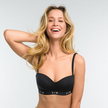 Black non-wired bra with removable straps - DIM Originals, , DIM
