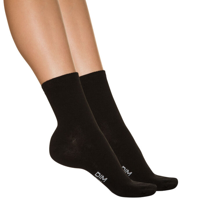 Pack of 2 pairs of black ankle socks for women, , DIM