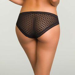 Black women's polka dot tulle briefs Dotty Mesh Panty Box, , DIM