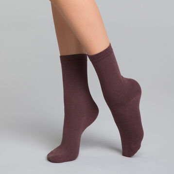 Plum-colored women's socks in cotton - Dim Basic Coton, , DIM
