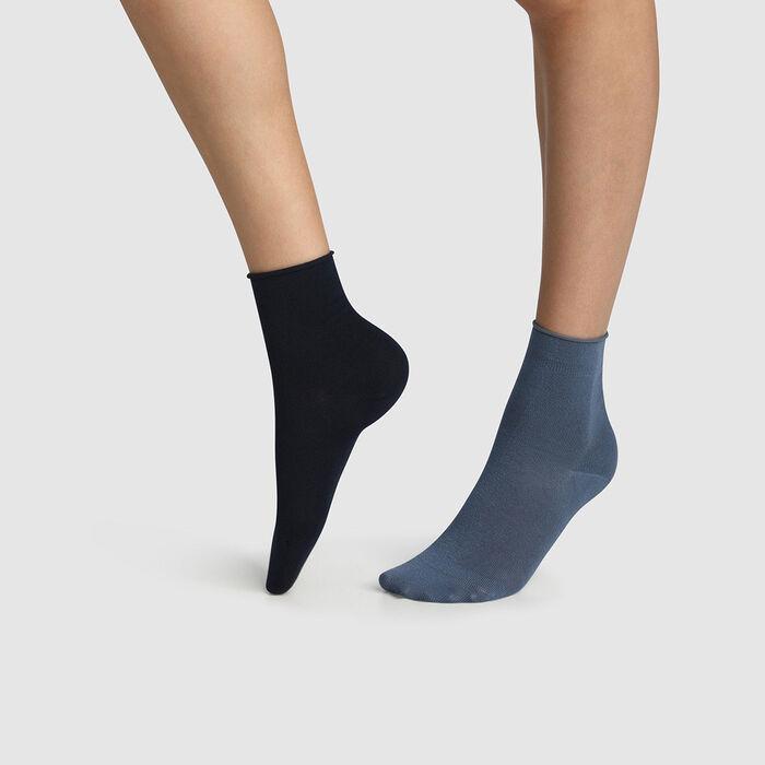 Pack of  2 pairs of women's socks cotton modal socks Navy Blue Dim Modal, , DIM