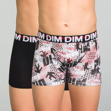 Lot de 2 boxers garçon noir et imprimé - Eco Dim, , DIM