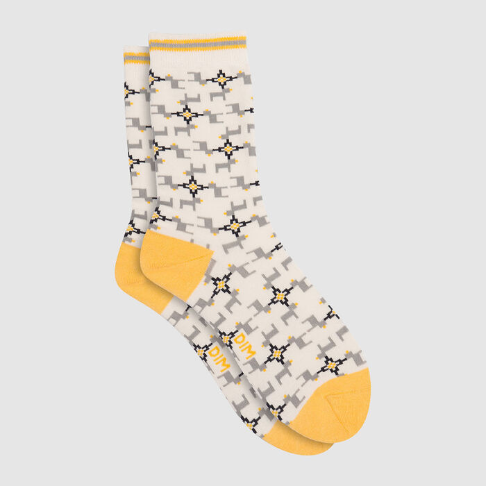 Mixed combed cotton sock reindeer print Yellow Color Sox, , DIM