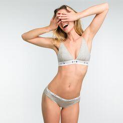 Mottled grey non-wired triangle bra - DIM Originals, , DIM