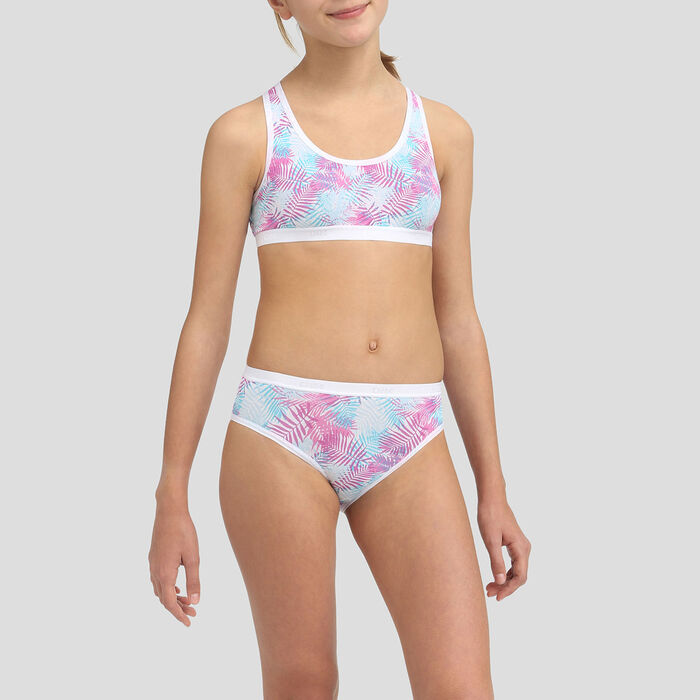 2 pack Cuba stretch cotton purple sports bras Dim Girl, , DIM