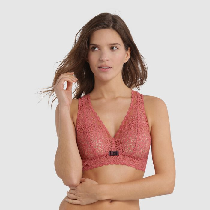 Pink lace bralette with brown bow - Sublim Fashion , , DIM
