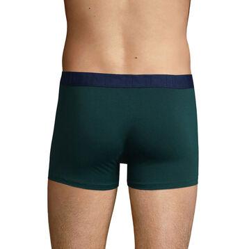 Men's stretch cotton trunks in Pacific Green Mix & Fancy, , DIM