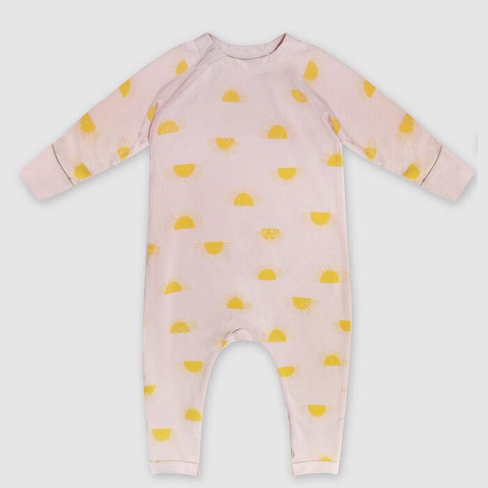 Dim Baby Zip-up baby pyjama in beige organic cotton sun print, , DIM