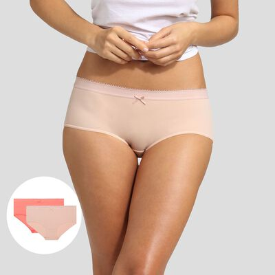 2 pack shorties in nude pink and coral pink Dim Les Pockets Microfiber, , DIM