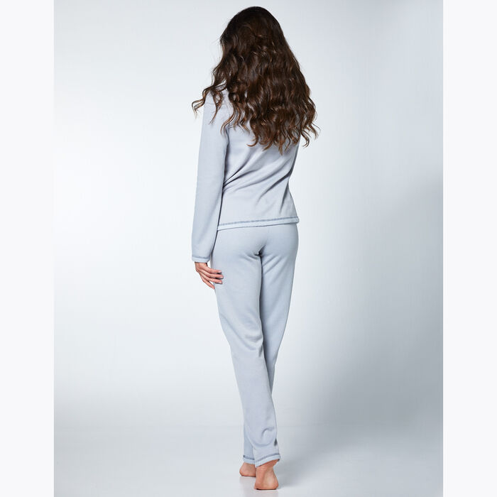 Women's pyjama set Grey fleece effect, , DIM