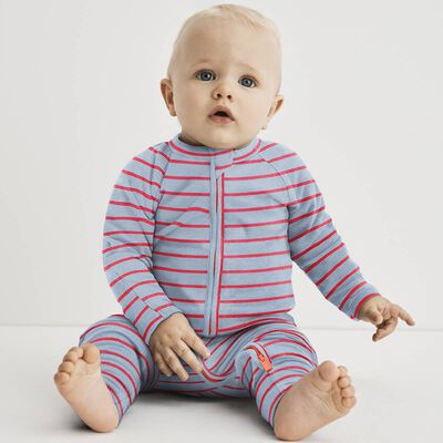 Cotton Stretch Zipped Pyjama with blue and pink Dim Baby, , DIM