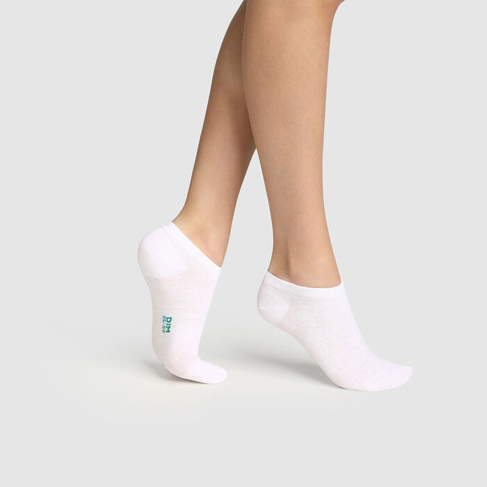 Pack of  2 pairs of women's socks in organic cotton White Green by Dim, , DIM