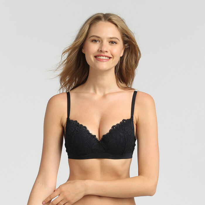 Padded black balconette bra Daily Glam, , DIM