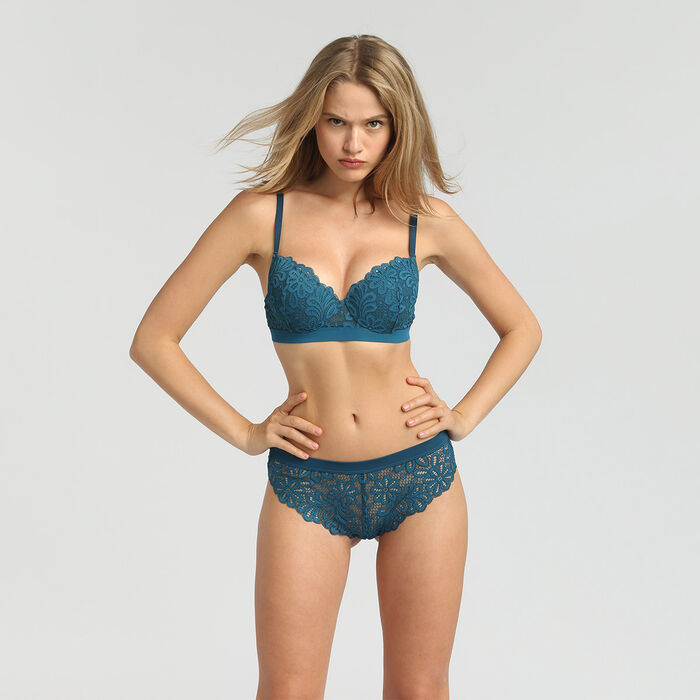 Padded balconette bra organic blue Daily Glam by Dim, , DIM