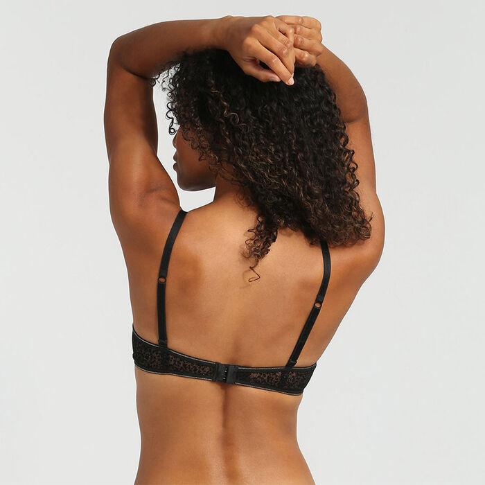 Soutien-gorge foulard push-up tulle et velours précieux noir Chic Line, , DIM