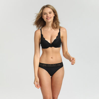 Black lace push-up padded bra Daily Glam by Dim, , DIM