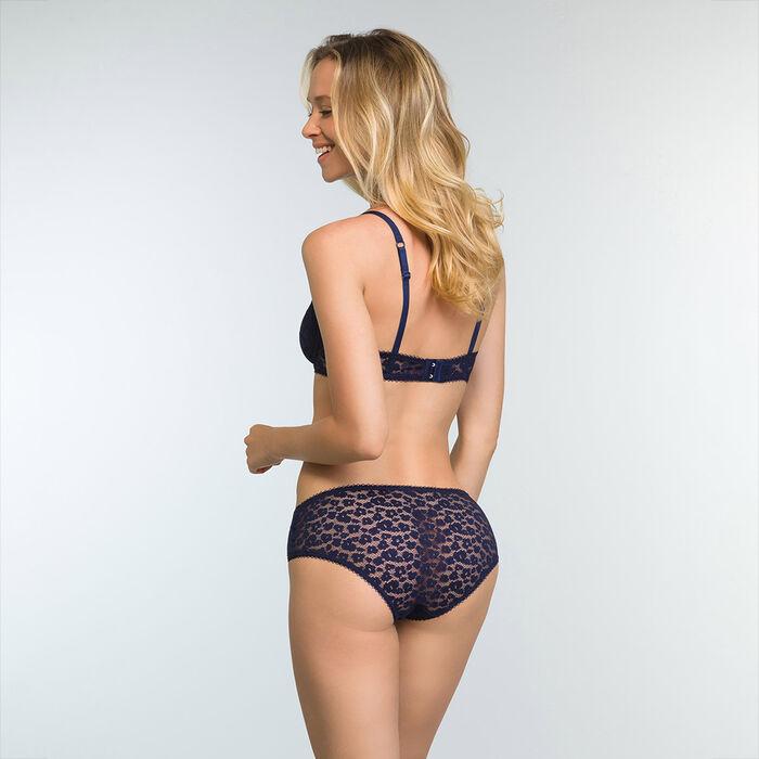 Shorty en dentelle Bleu Infini pour femme et à motifs Leopard Line, , DIM
